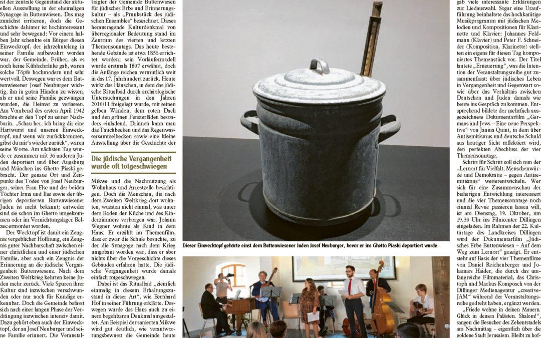Beitrag von Sandra Ritter zum 4. Themensonntag in der Wertinger Zeitung